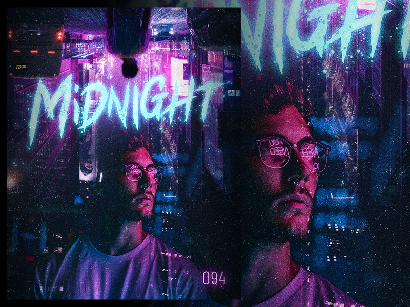 Midnight photo retouching photo retouch adobe photoshop adobe synthwave neon texture typography poster design poster photoshop