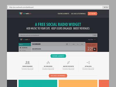 Widget landing page. flat design ui music javascript widget