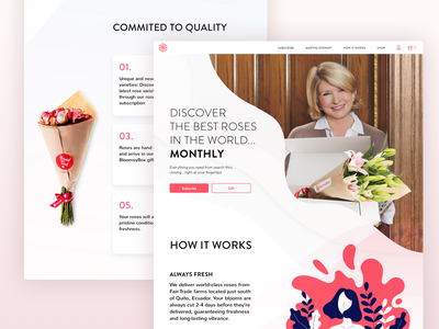 Working with Martha [WIP] ideas wireframe sketch astroid flowers pink ux uiux ui redesign responsive web