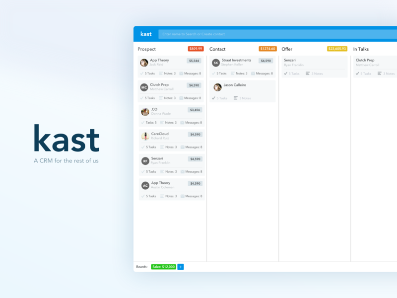 Kast - A CRM for the rest of us. ui 100 astroid ios web mobile design sprint ui  ux ui design crm