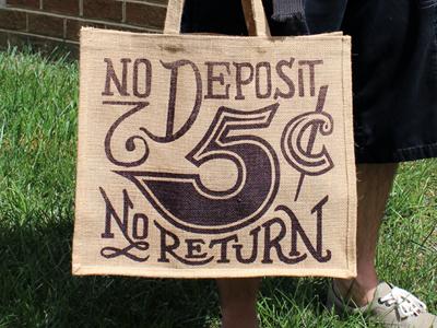 'No Deposit' Jute Tote Bag
