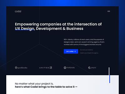 Codal — Website lp clean visual ui elements ux ui website web design webdesign