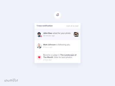📸 Shuttout – Notifications shuttout ui clean web flat icon bell activity new notifications