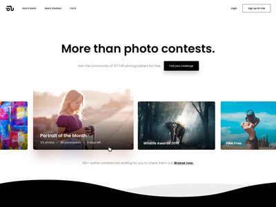 WIP 📸 Homepage competition competitons clean design website shuttout hero contests photography photos ui design home screen home page web modern uiux homepage