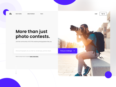 Another WIP 📸 Homepage shuttout tagline form input find search camera competition contest photographer photo top hero clean ui landing website homepage web