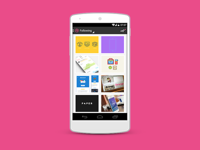 Dribbble on Android - Following Feed