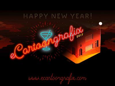 Happy Retro  New Year From Ecgfx Studio ecartoongrafix studio happy new year 2017 hello 2017