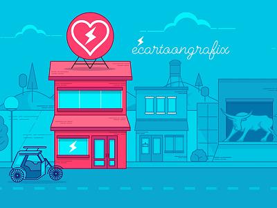 Urdaneta City Ecgfx electroniclove hub vector illustration ecartoongrafix studio