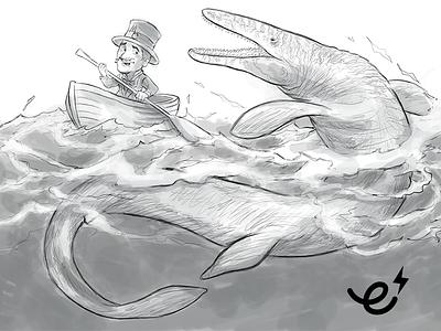Mosasaurus sketch richard peter david ecgfx ecartoongrafix mc mascot mosasaurus