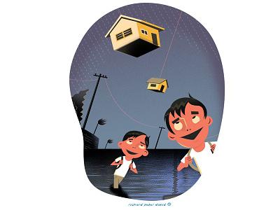 Suspended Classes suspended classes cartoon typhoon illustration