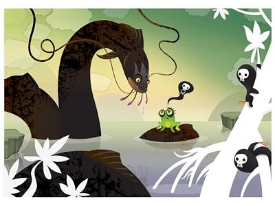 This is it!!! eel cartoon frog cartoon illustration