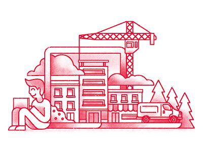 Building some things van scene laptop crane buildings shading art texture digital illustration digital design illustration