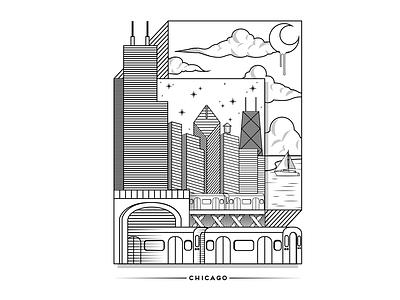 Chicago Lines chicago linework lines vector digital illustration design digital illustration