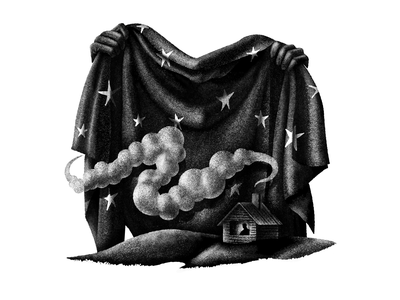 Nights under quarantine lonely house cabin smoke fabric blanket procreate texture art stippling digital illustration design illustration