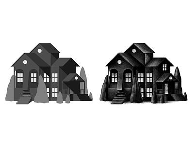 Quarantine Brain quarantine face haunted house house art procreate texture design stippling digital illustration digital illustration