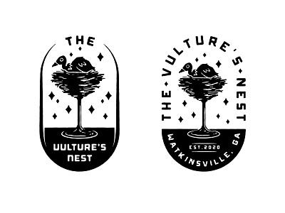 Vulture's Nest Badgeys cocktail glass illustration badge logo badge identity branding logo vultures nest bird nest vulture