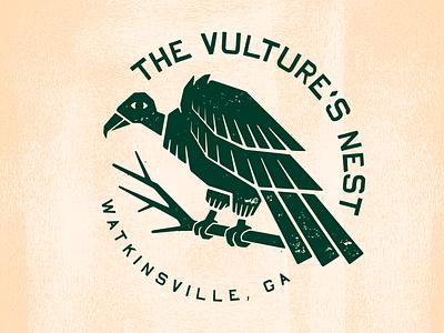 The Vulture's Nest identity vector branding design illustration rough texture badge logo badge bird vulture logo