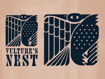 Vulture's Nest Explorations identity branding folk vultures bird identity branding logo vector illustration design vulture