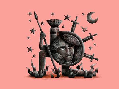 It was worth it moon stars sheild armor digital art design procreate texture stippling digital illustration digital art illustration