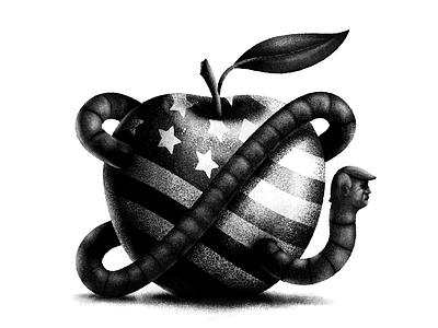 Rotten Apple procreate stippling texture art digital digital illustration design illustration political illustration political cartoon political america trump