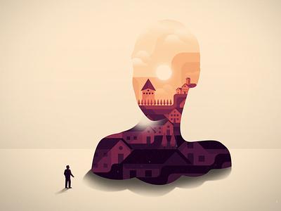 Into the story art skull silouette town village noise vector digital illustration digital design illustration