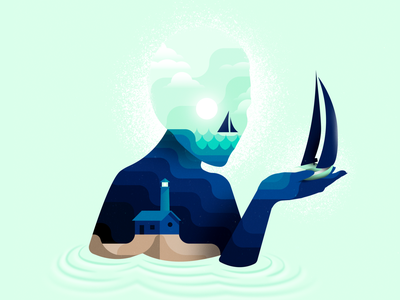 Deceitful Seas ripple art lighthouse skull waves ocean sea sailing sailboat design vector digital illustration digital illustration