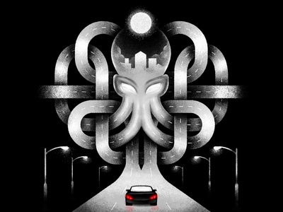 Night ride design procreate texture stippling digital illustration digital illustration highway drive car noir dark night city octopus