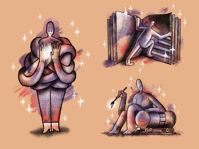 Recent sketch-plorations book painting train art stippling digital illustration procreate texture illustration