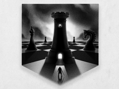 Small man, big game blackandwhite dramatic clouds texture digital illustration digital illustration bishop pawn night rook noise chess