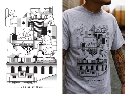 Shirt design for We Ride By Train clothing brand trains black and white lineart linework train tshirtdesign tshirt design tshirt design illustration