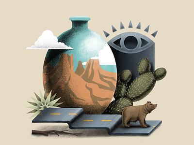 Santa Fe Surreal desert cactus eye vessel bear art design procreate texture digital illustration digital surrealism illustration surreal santa fe