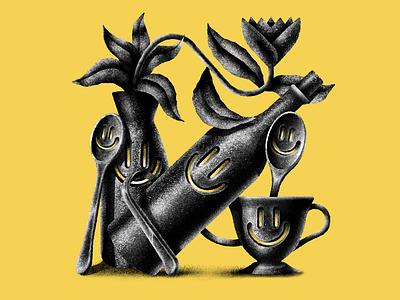 Dance of the Manse yellow wine bottle wine spoon vase cup tea cup flower stippling art texture digital illustration digital design illustration ill