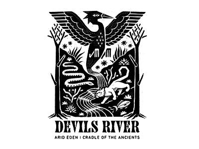 Devils River river mountain lion bird procreate art texture digital illustration design illustration poster texas devils river