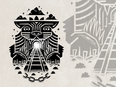 The Yawning Maw stars clouds tunnel tracks train tiger stippling texture digital illustration digital design illustration