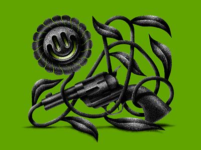Powder Flower green revolver gun flower design digital art stippling texture digital illustration illustration
