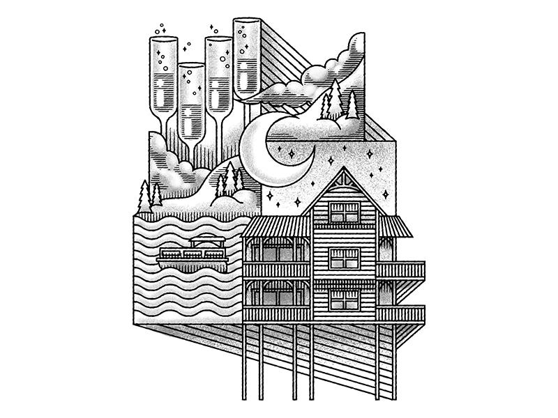 Mountain Lake Magic lake house cabin house mountain house mountain digital illustration art texture digital design grain stippling illustration
