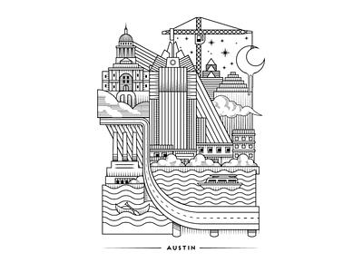 Austin Lines poster city digital illustration illustration lines linework design atx austin texas austin