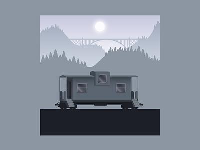 Lonely Caboose caboose trains train vector art digital illustration digital design illustration