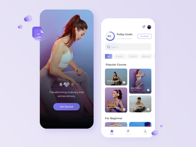 Workout Online Course App Exploration workouts workout app app fitness app sport fit workout fitness minimal ui figma design