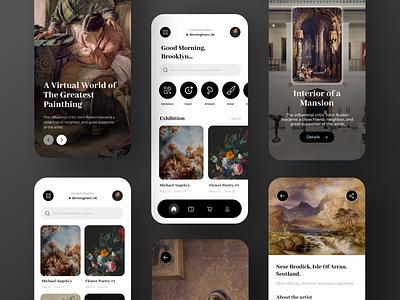 Virtual Exhibition App Design black renaissance artist painthing mobile mobile design exhibition visual exhibition artwork art app ui minimal figma design