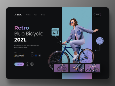Bicycle Store Website cycling purple dark mode black shop onlineshop store online store website uidesign ui figma bicycle bike minimal design