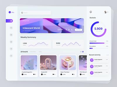Ae -  NFT Dashboard ui ux art creative ethereum wallet dashboard ui crypto currency pink purple nft art blockchain nft dashboard website graphic design minimal figma ui design
