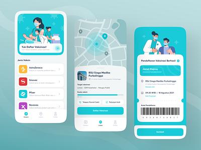 Covid-19 Vaccination Service App 💉 branding design maps hospital blue mobile app design covid-19 vaccine application ui design