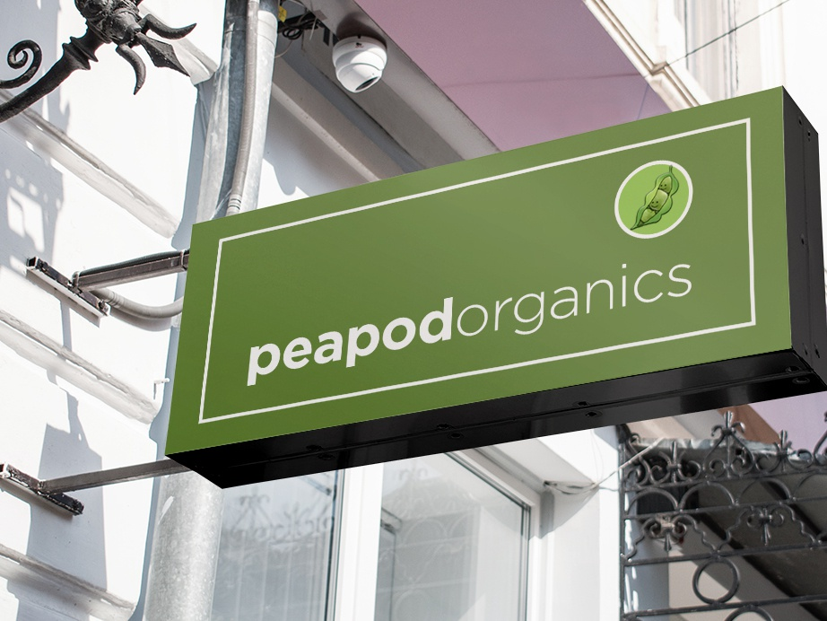 Storefront Street Sign, Peapod Organics by Design Vegan by
