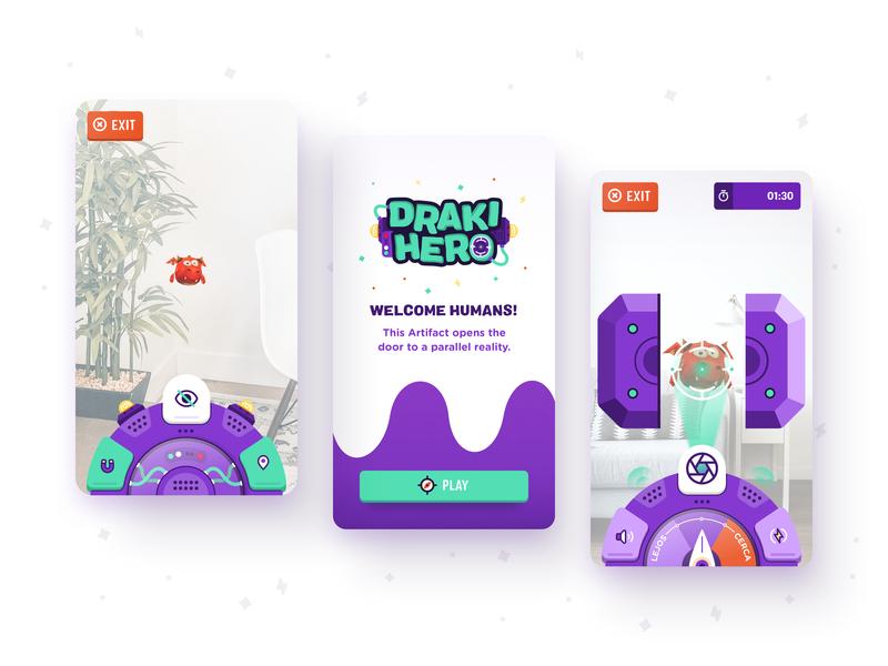 Draki Hero - mobile screenshots retro futuristic game kids app video game augmentedreality augmented reality brand logo design branding illustration digital products z1