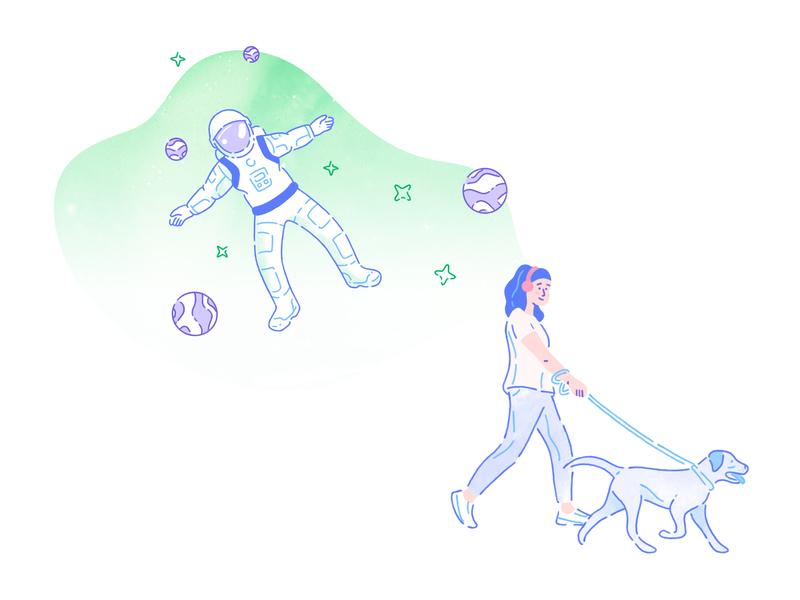 Castro - Illustration astronaut illustrations pastel colors green walking dog daydream dream charachters charachter design brand illustration digital products z1 design branding