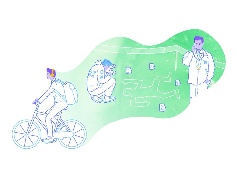 Castro -  Illustration illustrations podcasts podcasting podcast dreams dreaming pastel colors green detectives bike charachters charachter design brand illustration digital products z1 design branding