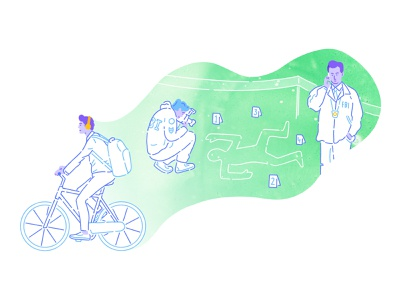 Castro -  Illustration illustrations podcasts podcasting podcast dreams dreaming pastel colors green detectives bike charachters charachter design brand illustration digital products z1 design branding