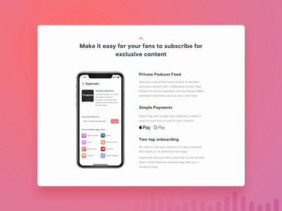 Supercast - Video subscribe podcasting podcast supercast video app ui brand digital products z1 design