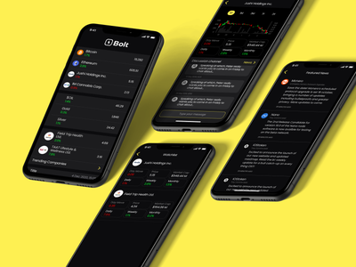 Financial News App poppins chart yellow black application stocks finance